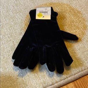 Women's black velour gloves